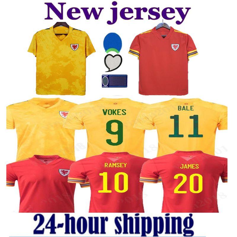 2021 Wales Soccer Jerseys Home Away Bale James Wilson 2122 Ramsey Männer Kinder MAILTOT DE Football Hemden Allen Vokes Camiseta Futol Uniform Fans Spielerversion