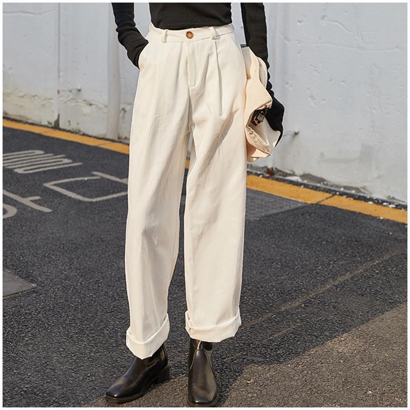 Outono-inverno estilo moda cintura alta mulheres calças plissadas soltas casuais arem calças capris mulheres