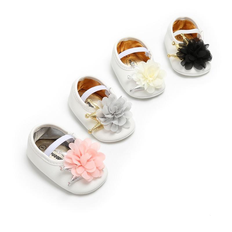 طفل ولدت طفلة أحذية تاج الأزهار الأميرة الأولى مشوا لينة وحيد المضادة للانزلاق prewalker