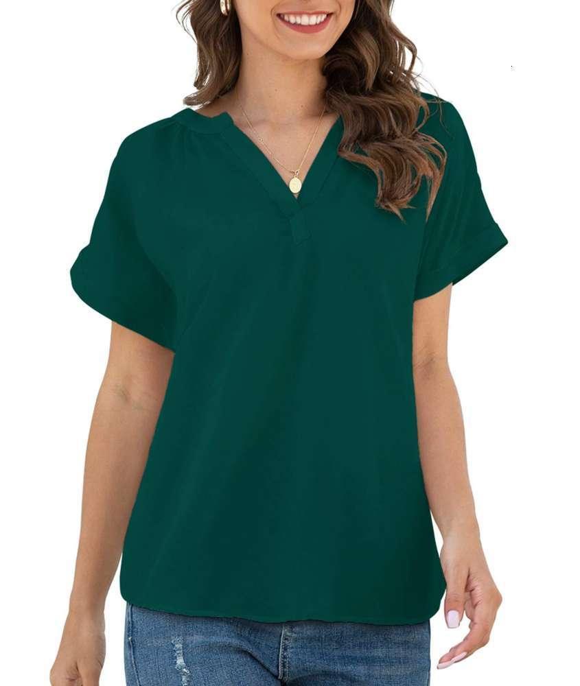 2021 Neue Frauen Lose Casual Kurzarm V-Ausschnitt Chiffon Top T-Shirt