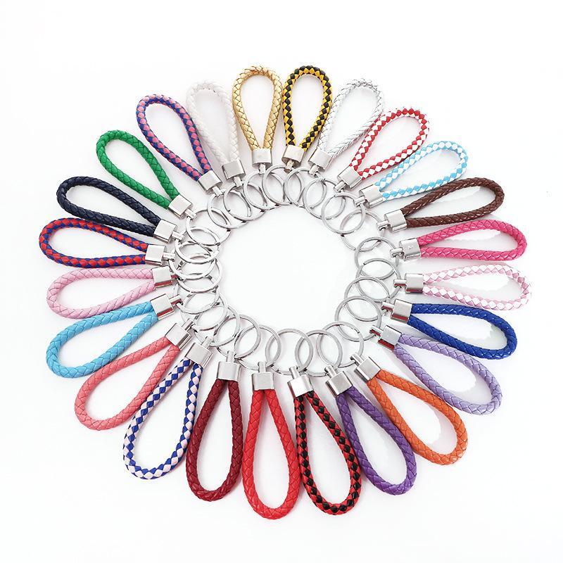 76 cores tecidas de couro pu chaveiro decoração de bagagem de metal chaveiro chaveiro chaveiro DIY presente de festa