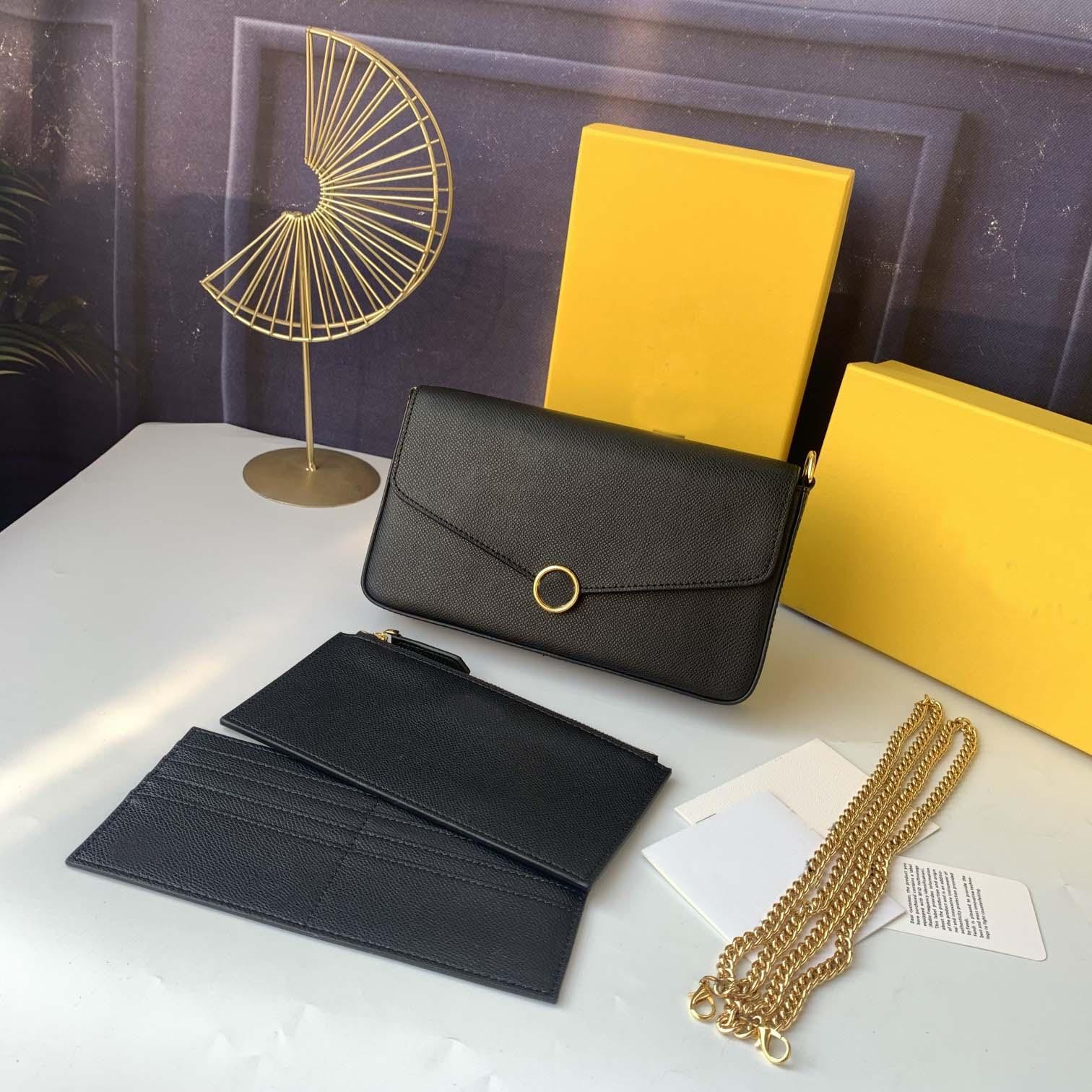 2021 Neue Frauen Favorite Echtes Leder Mode F Handtaschen Multi Pochete Accessoires Geldbörsen Blume Mini Pichette 3 stücke Crossbody Bag Umhängetaschen
