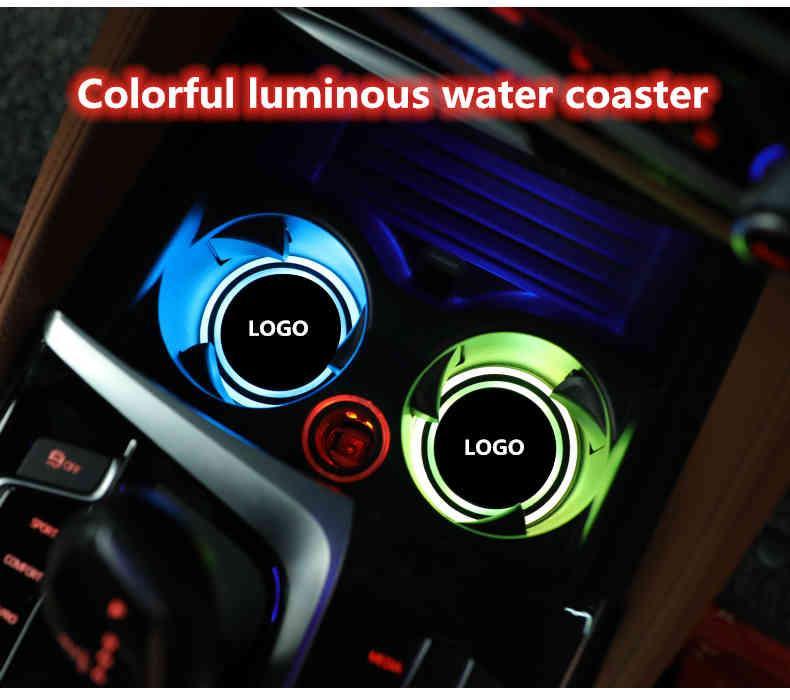 [사용자 정의] 2pcs LED 자동차 홀더 조명 GMC N-Issan 변경 USB 충전 매트 발광 컵 패드, 인테리어 조명