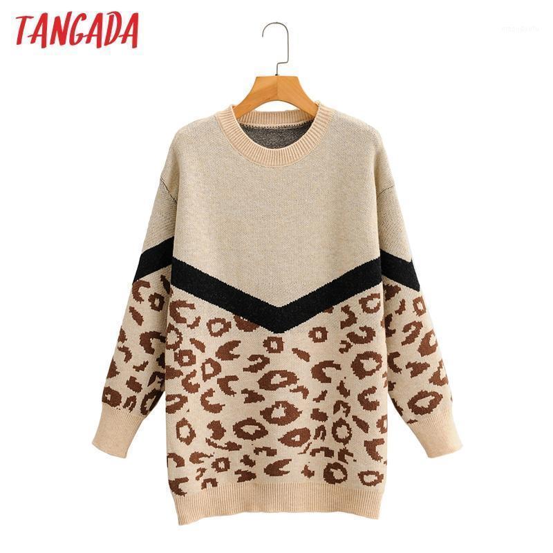 Tangada женщины 2020 мода элегантный леопард вязаный свитер джемпер o шеи женские негабаритные пуловеры шикарные вершины 2f1001