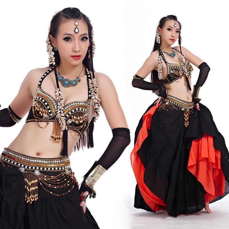 Belly Dance Costume 2pcs Brabelt Dancing Dancing Dancy Dancer Vestiti Set Bellydance Wear 3 Color for Selection 858 # Stage