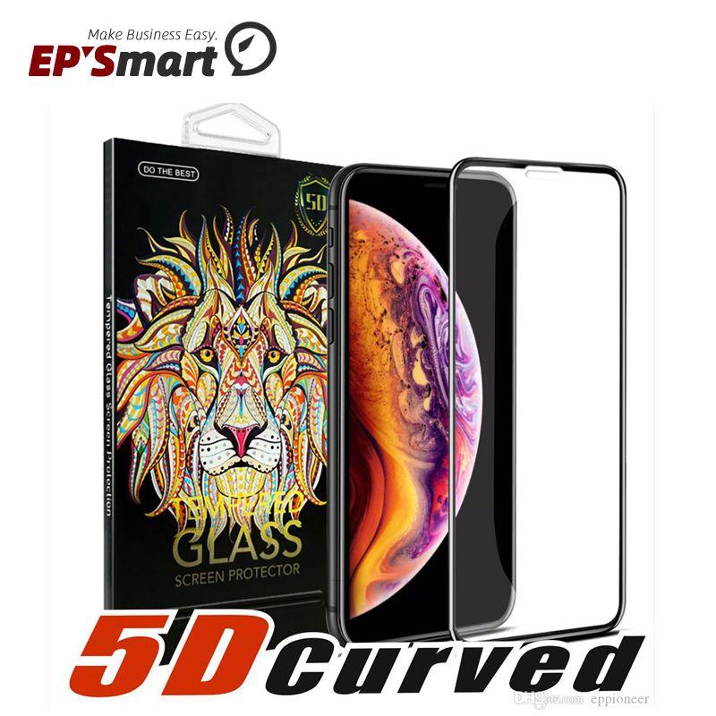 5D منحني كامل غطاء كامل زجاج الشاشة حامي شاشة iPhone XR XS MAX 6 7 8 زائد فيلم 3D حافة