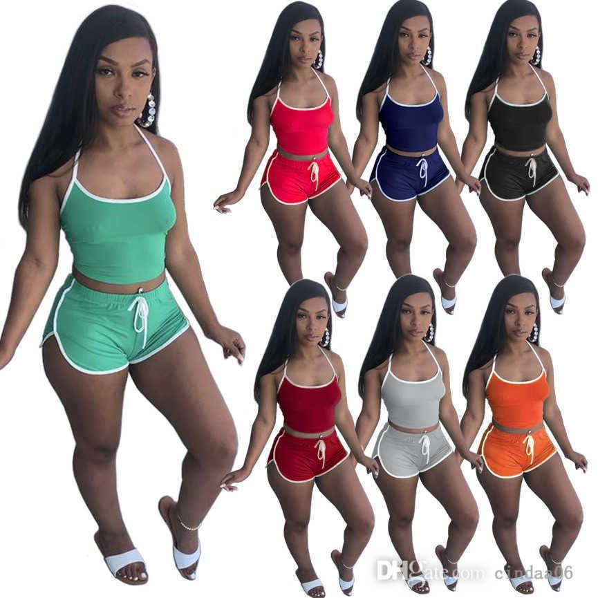 Yaz Kadın Şort Spor Eşofmanlar Seksi Katı Renk 2 Iki Parçalı Askı Yoga Kıyafetler Yelek Spor Takım Elbise Ince Gömlek Kolsuz