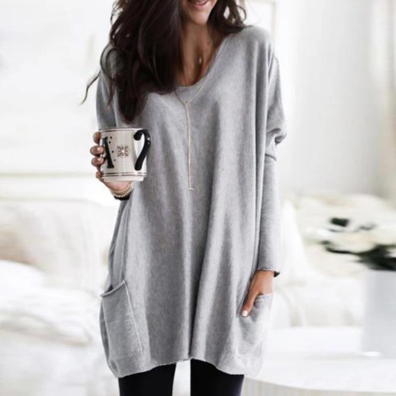 Плюс размер модные карманы сплошной длинной блузки повседневная зима свободные O-образные вырезывает топ женские женские топы длинные рукава рубашки рубашки Blusa Pullover