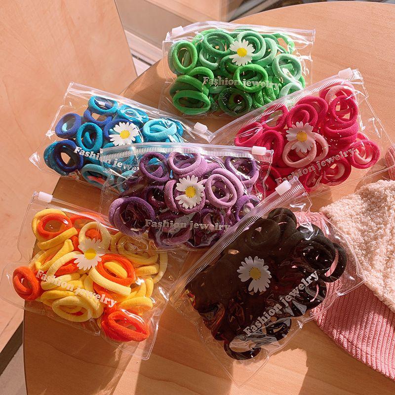 Kızlar 50 adet Renkli Naylon Küçük Elastik Saç Bantları Saç Aksesuarları Çocuk At Kuyruğu Tutucu Scrunchie Kafa Çocuk Saç 802 Y2