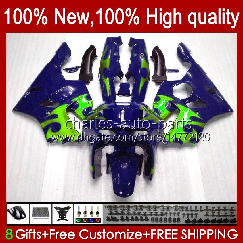 Carrosserie voor Kawasaki Ninja ZX 6R 636 600CC 600 CC ZX 6 R ZX-6R ZX600C 94-97 Body 50HC.65 Blue Green BLK ZX-636 ZX600 ZX6R 94 95 96 97 ZX636 1994 1995 1996 1997 Fairing Kit