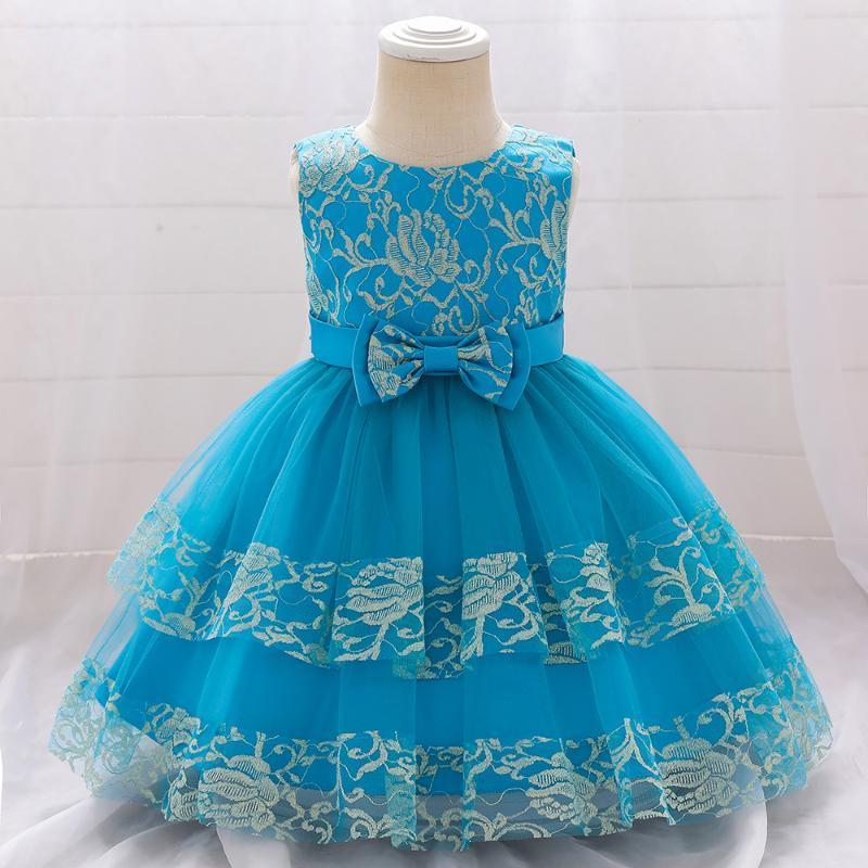 여름 레이스 1 년 생일 아기 소녀 드레스 침례 파티 결혼식 어린이 투투 공 가운 소녀의 드레스에 대 한 공주