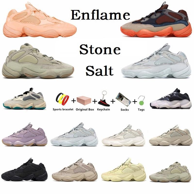 Con caja kanye Enflame 500 zapatillas para correr para hombre moda Salt Stone Soft Vision Taupe Light Utility Black Super Moon Yellow Bone blanco hombre mujer zapatillas deportivas