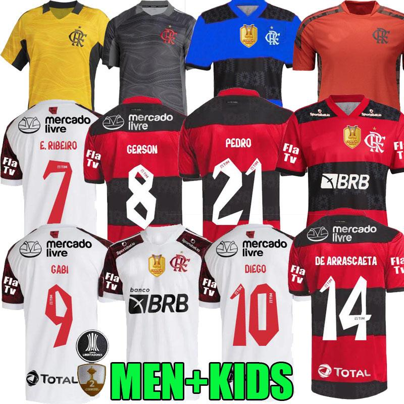 21 22 Flamengo Soccer Jersey 2021 2022 Brésil Supercopa Final Guerrero Diego Vinicius JR Camisa Mengo Gabriel B Football Away Liste de gardien de but adulte Version