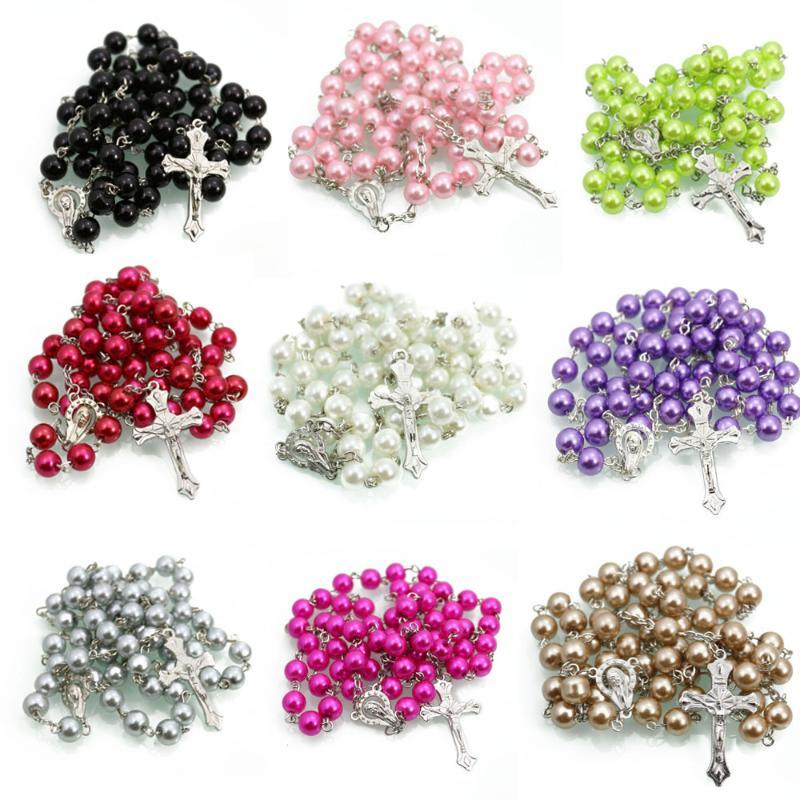 Catholic Rosary Jewelry Religious Beads Pearl Cross Necklace Gift Giveaway Souvenir Chains