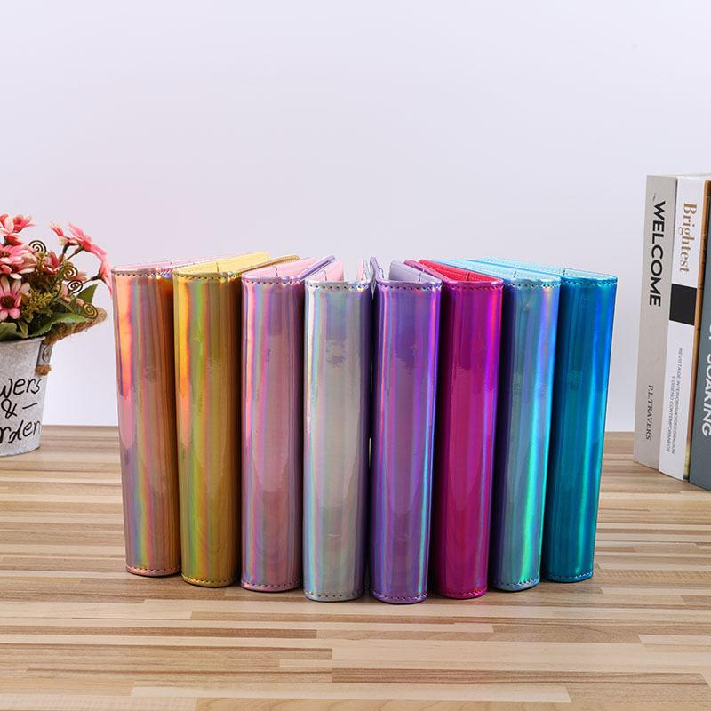 Holographic A5 A6 Pu Leather Notepads Cover Rainbow Ring Binder for Filler Paper Coverwith Magnetic Buckle Closure Laser 802 B3