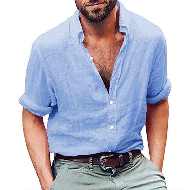 남자 여름 셔츠 긴 소매 단단한 망 패션 의류 트렌드 버튼 튼튼한 코튼 린넨 느슨한 캐주얼 해변 요가 셔츠 탑스 남자