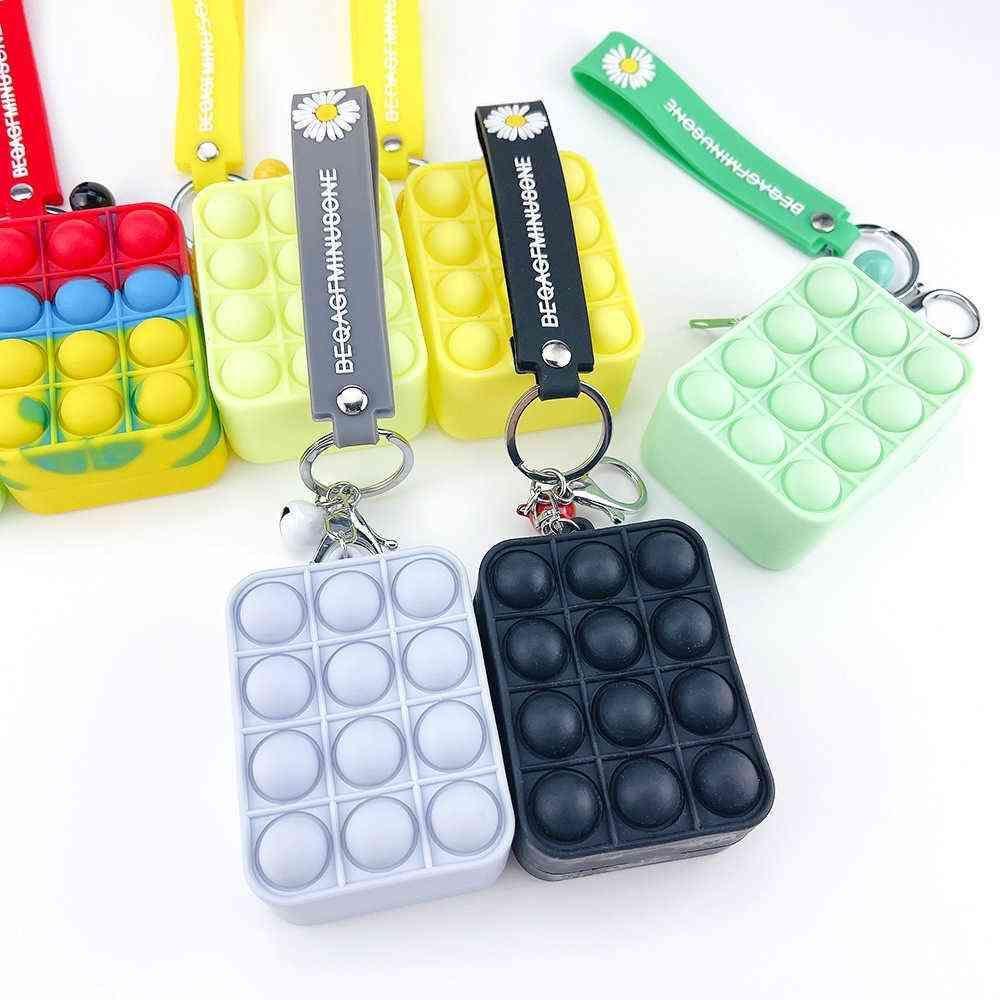 Push Pioneer Fidget Toys Keychain Portefeuille Mini Mini Sac Mignon Poppers Decompression Toy Fidgets Porte-clés Anti-Stress Board Pandents Boîte de pièces de monnaie G78MYU0