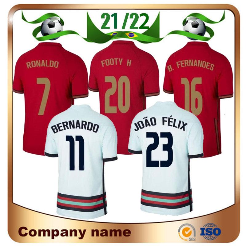 2021 P ortugal futebol jersey 21/22 # 7 ronaldo # 11 b.fernandes # 23 joao felix camisas de futebol homens + kit kits e uniforme de silva