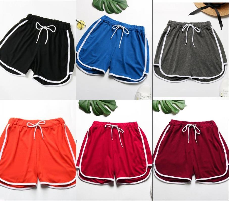 Summer Autumn Women Solid Shorts Drawstring Striped Fashion Sport Casual Skinny Women's
