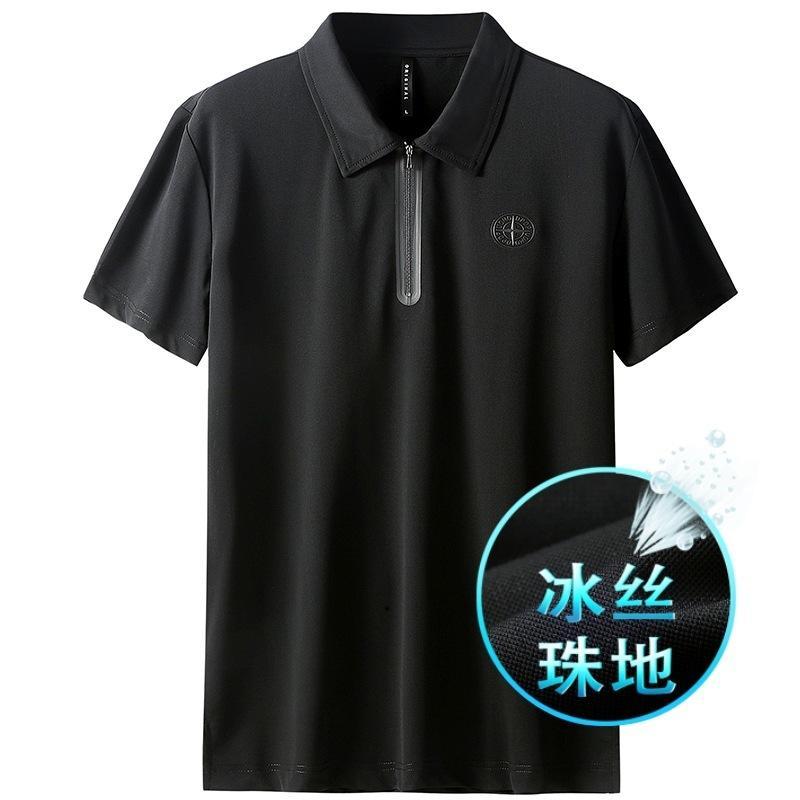 Factoryxjbk Новый с коротким рукавом поло с коротким рукавом рубашка светло-летний роскошный тонкий ледяной мужской футболкой из лацбарки верхняя половина молнии 510