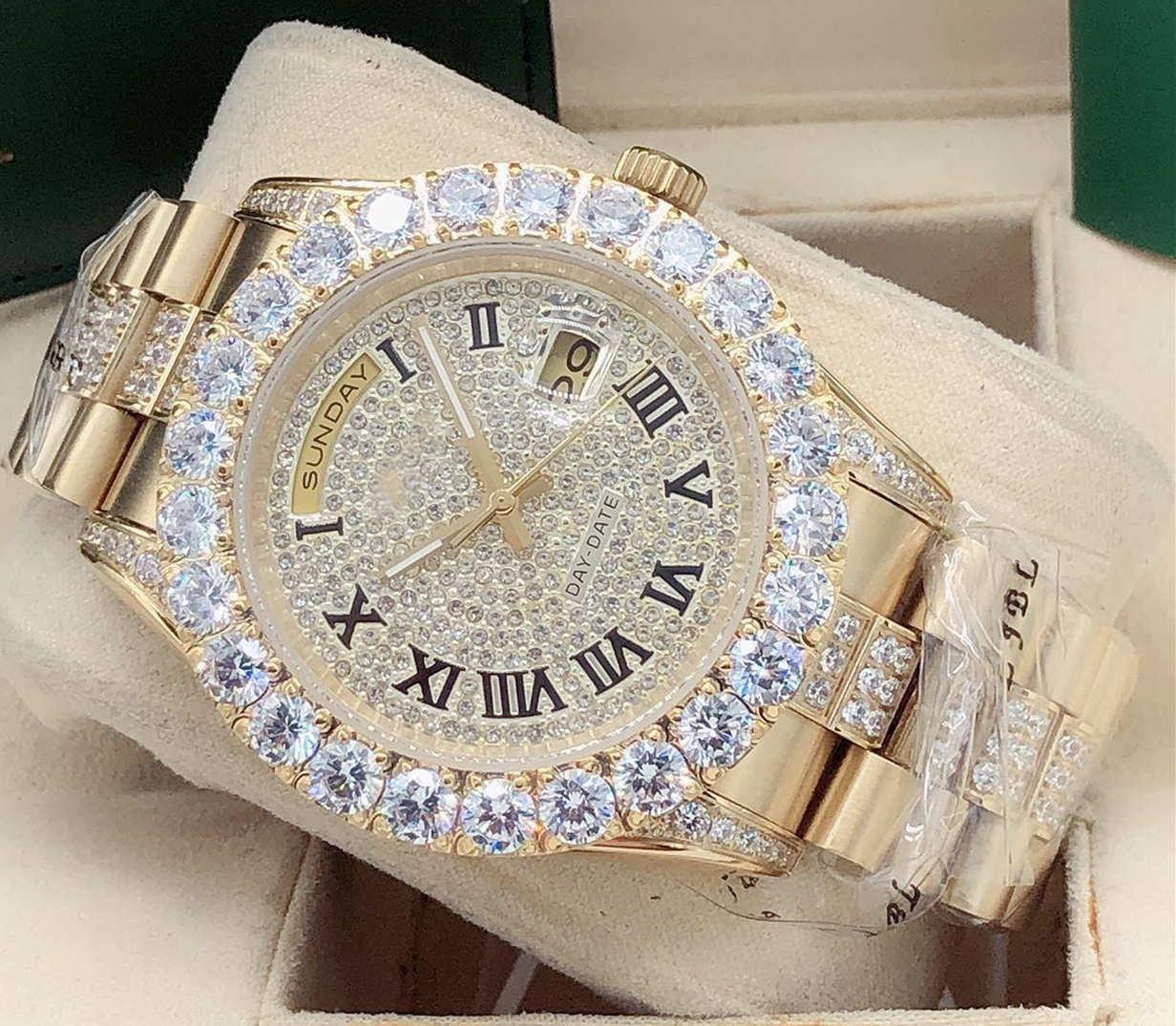 الرجال الساعات 43 ملليمتر كبير الماس ستار الرومانية الحرفي المعصم ووتش تاريخ / أسبوع تصميم الأزياء جودة الفولاذ المقاوم للصدأ المعصم الميكانيكية