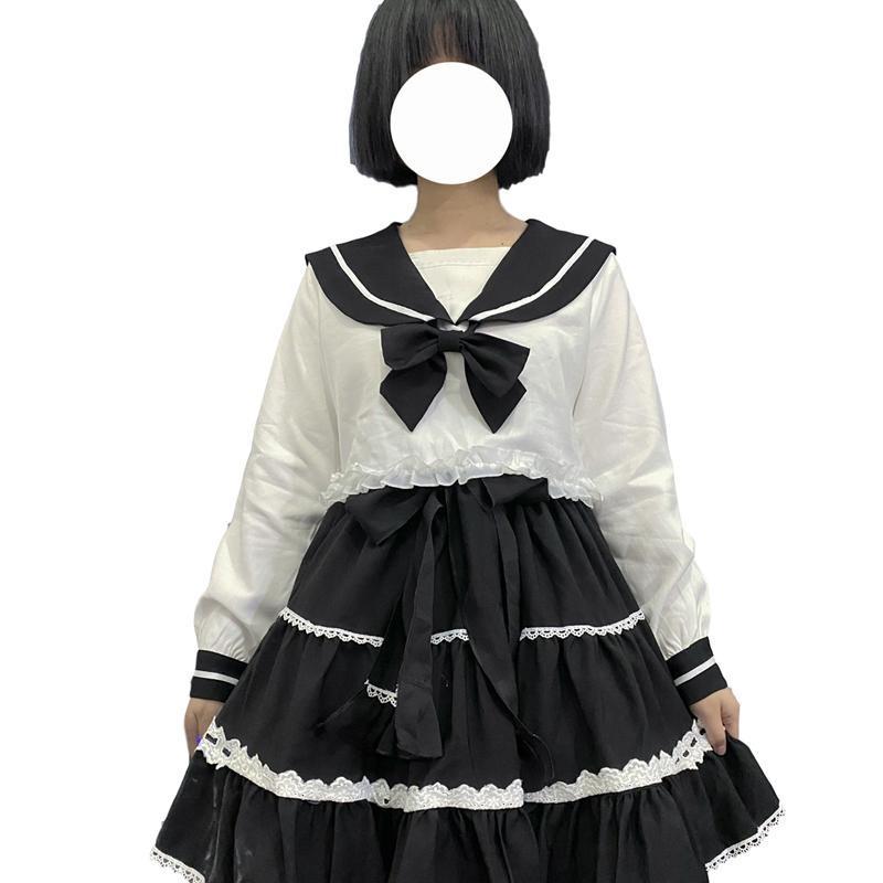 Vintage Sailor Navy Collar Bianco Camicia Donne Carino Vestiti Carino Harajuku Kawaii Manica lunga Crop Top Lolita Anime Cosplay Lace Blusa Donne Blo