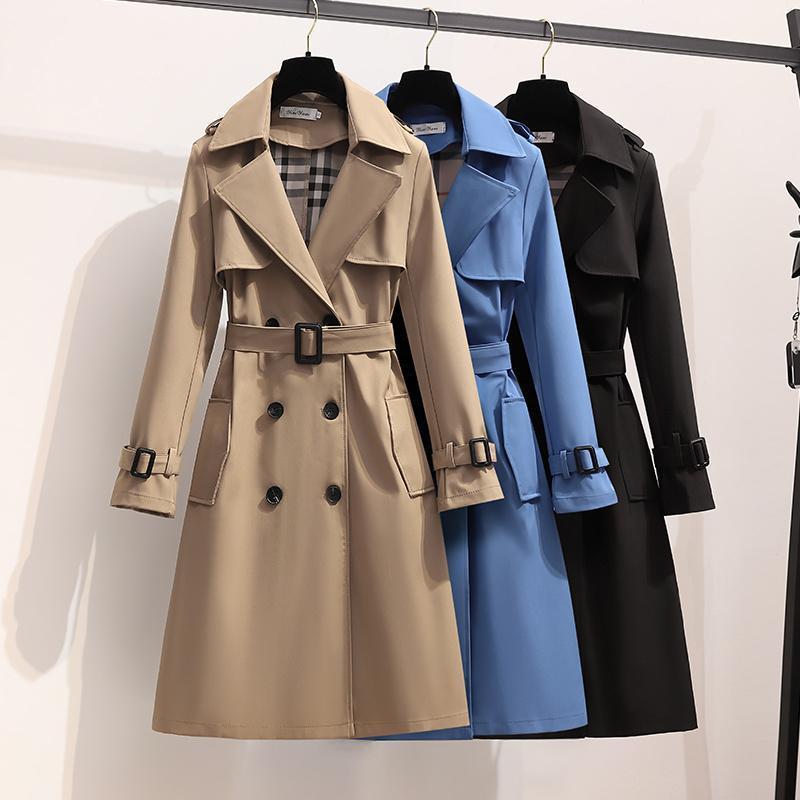 Guas de la zanja de las mujeres S-4XL Otoño 2021 Moda Inglaterra Estilo Mujeres suelta Media Duración Cortavientos Elegante Cinturón Abrigo Femenino Casual Chaqueta Larga