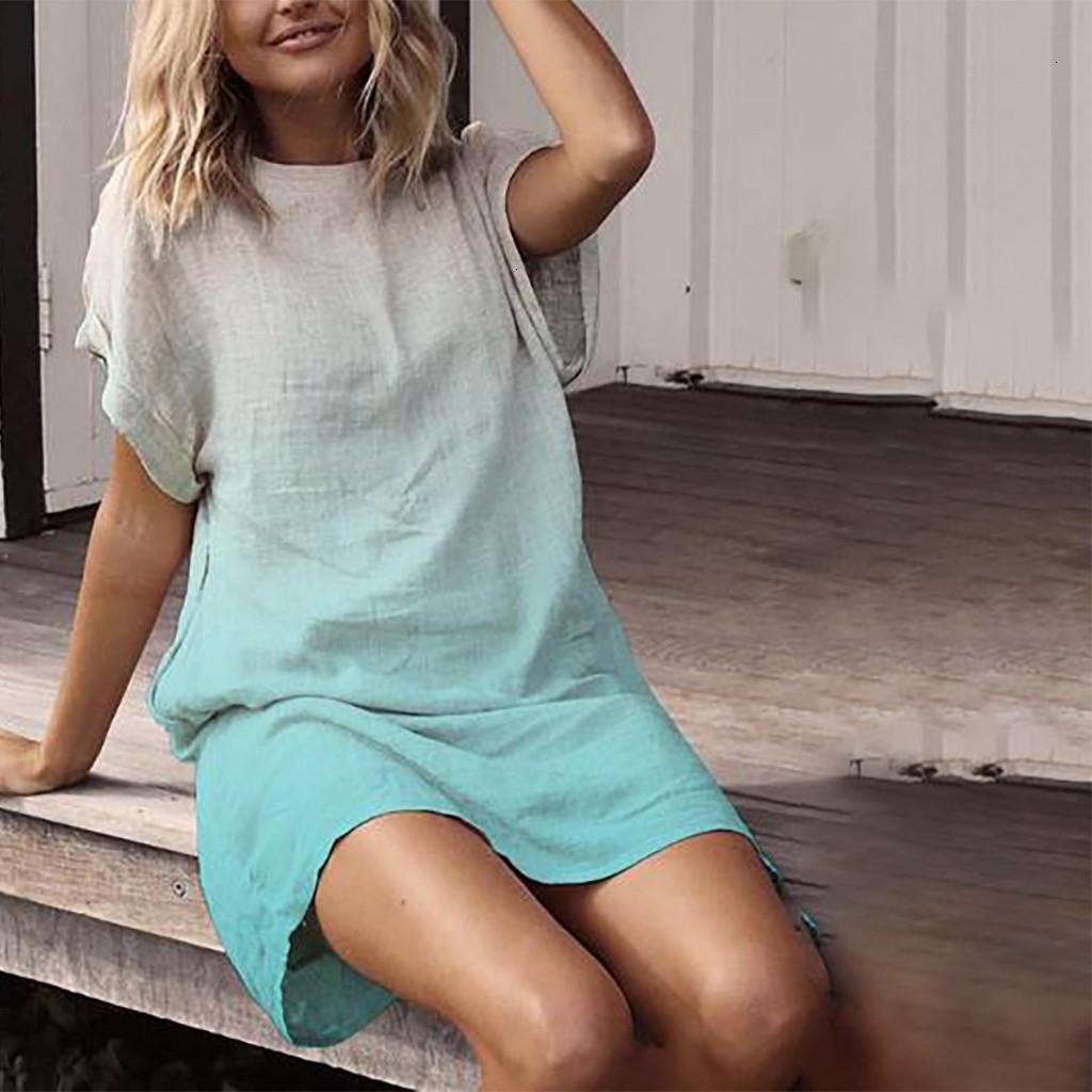 Vestito moda Dye Gradient Stampa breve Ladies Linen Slip Swing Suower Gonna Donne Casual Beach Party The Feast