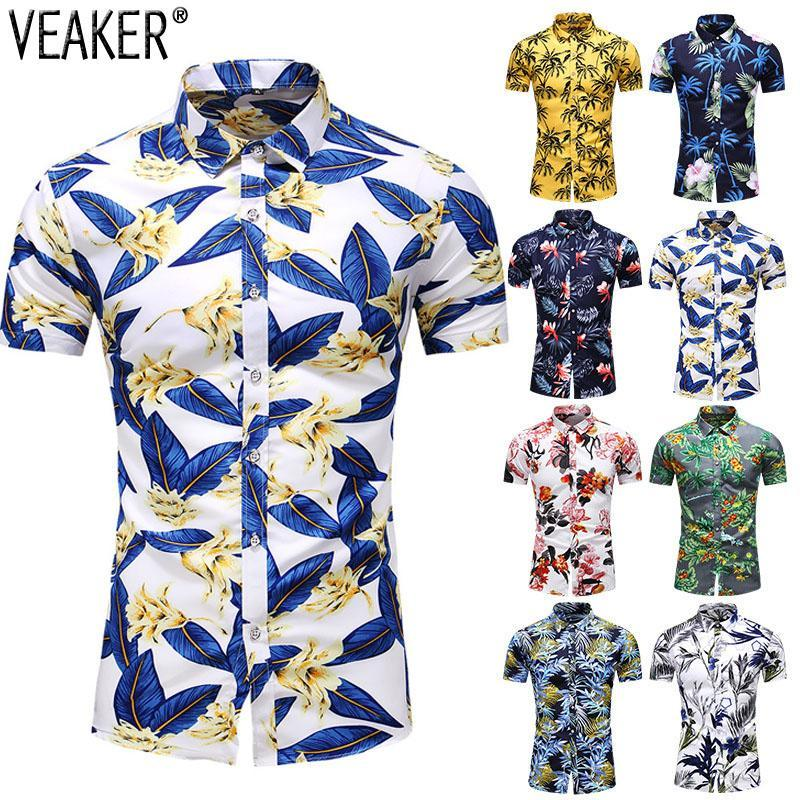 Men's Slim Fit Floral Printed Shirts Male Casual Short Sleeve Hawaiian Beach Flower Shirt Basic Tops Plus Size M-7XL