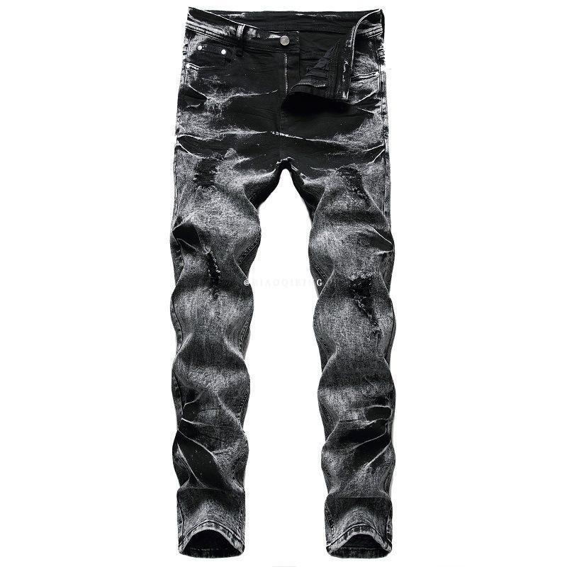 Jeans masculinos 2021 outono primavera skate rasgado rua hip hop punk trendy buracos na moda buracos hands innimpers