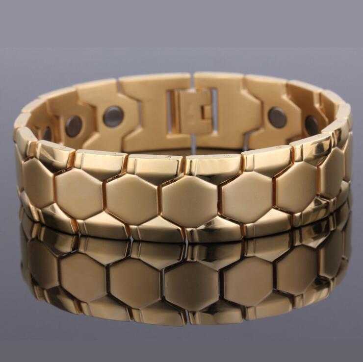 Altın Gümüş Renk Paslanmaz Çelik Bilezik Erkekler Takı Enerji Sağlık Şifa Mıknatıs Adam El Bant Biker Link Zinciri Bağlantısı için,