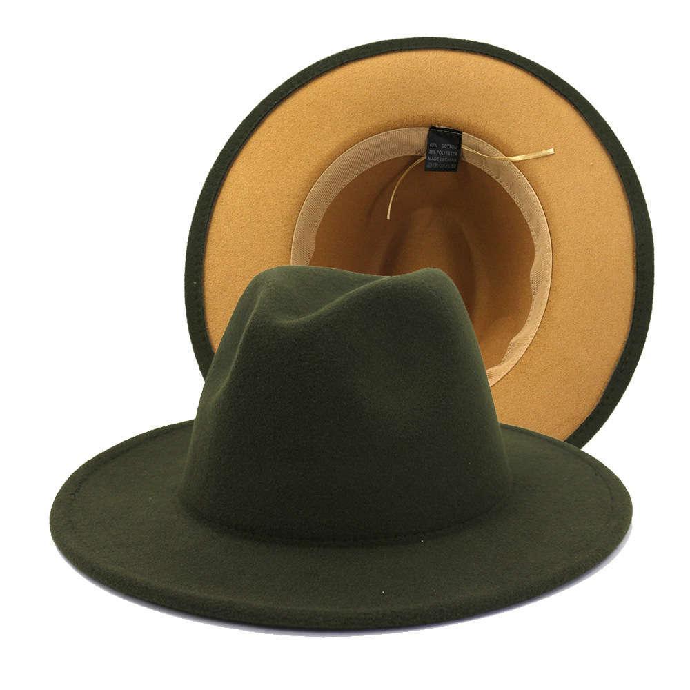 2021 الأزياء الزيتون الأخضر مع تان أسفل المرقعة اثنين من لهجة اللون الصوف فيلت الجاز فيدورا القبعات النساء الرجال حزب مهرجان قبعة رسمية