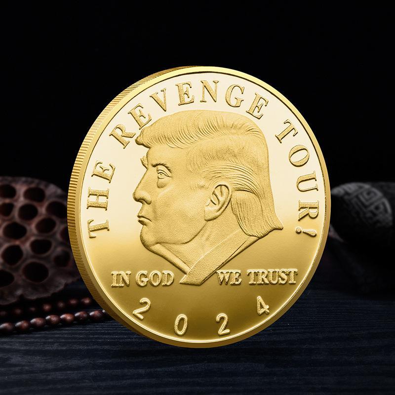 트럼프 2024 동전 기념 공예 revenge 투어 아메리카 저장 다시 금속 배지 골드 실버