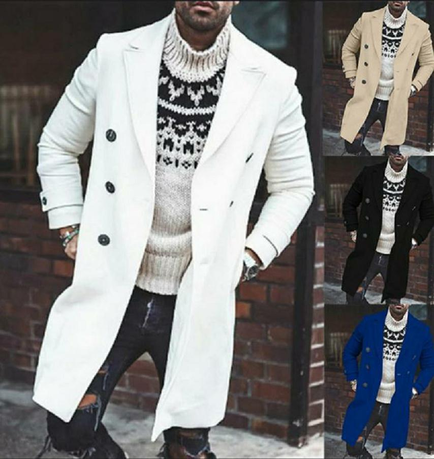Autumn and Winter Casual Lapel Double Row Button Solid Long Woolen Windbreaker Coat