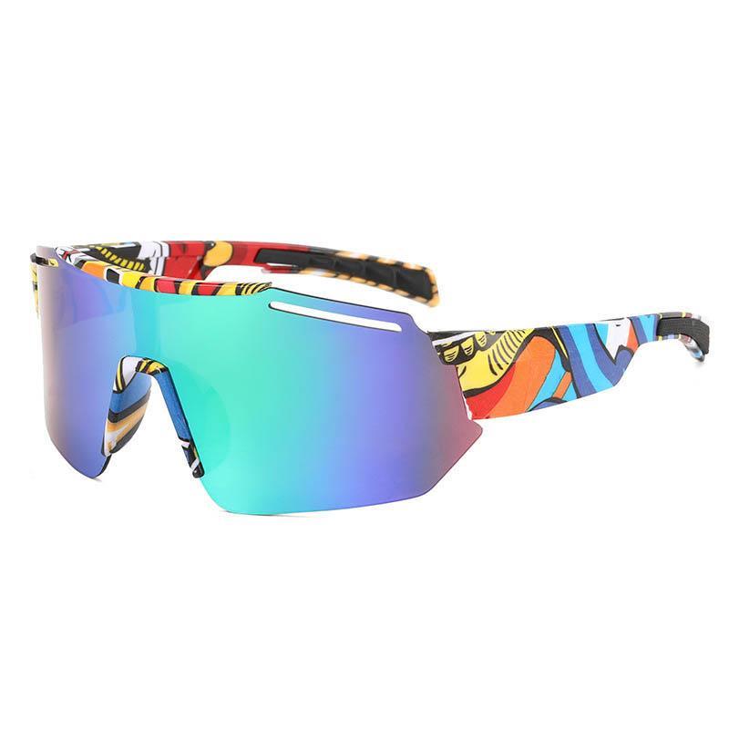 10 Farben Outdoor Sports Sonnenbrille Randlose Schutzbrille Stil Rahmen mit bunten Musterbein Einteiler Volle Linsen Gläser