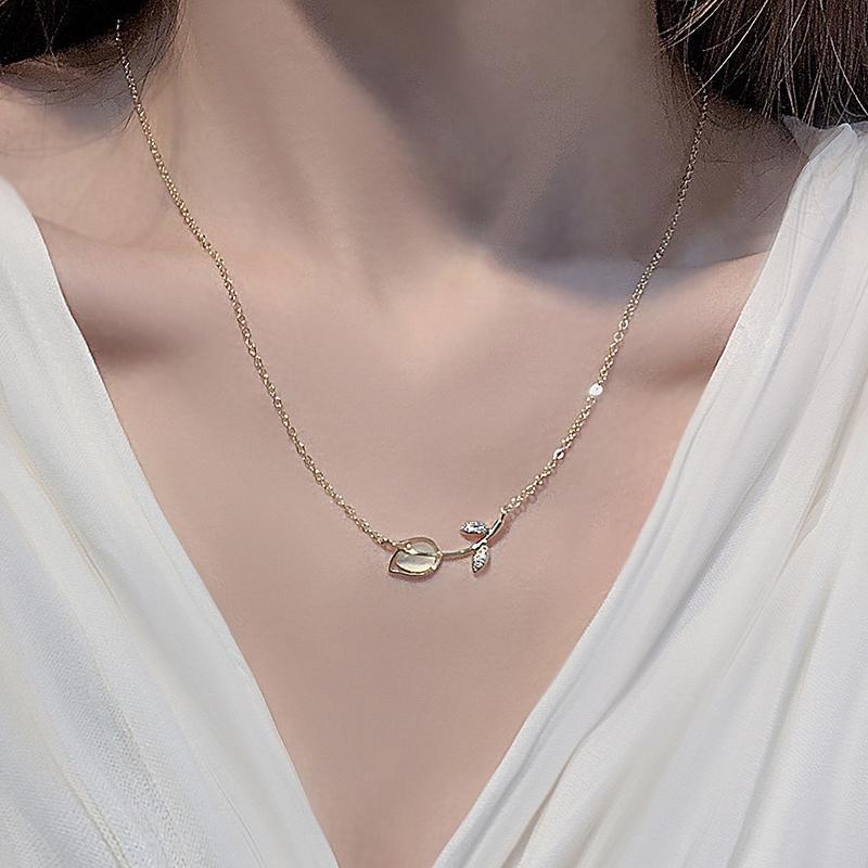 OPAL TULIP FLOWER 14K Joyería de oro real Joyas de circón Collares para mujer Clavícula Cadena Charm Cadenas colgantes de boda