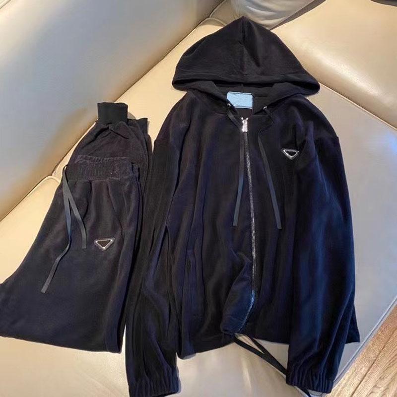 21SS Traje para mujer Cardigan clásico Hoodie Simple Pantalón Casual Pantalón de Moda Stripemte Elemento Ropa de mujer Tamaño S-L