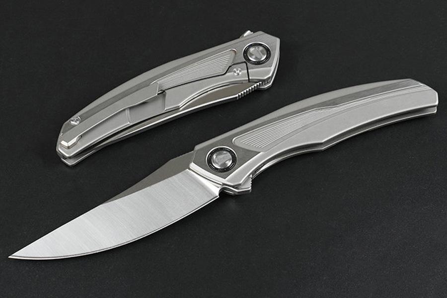 High End Flipper Folding Knife S35VN Satin Blade CNC TC4 Titanium Alloy Handle Ball Bearing Fast Open EDC Pocket Knives