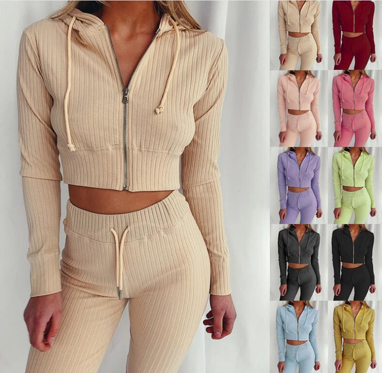 2020 Women Clothes Two Piece Sets 2 piece set womens sweat suits Plus Size Jogging Sport Suit Soft Long Sleeve Tracksuit Sportswear M-2XL