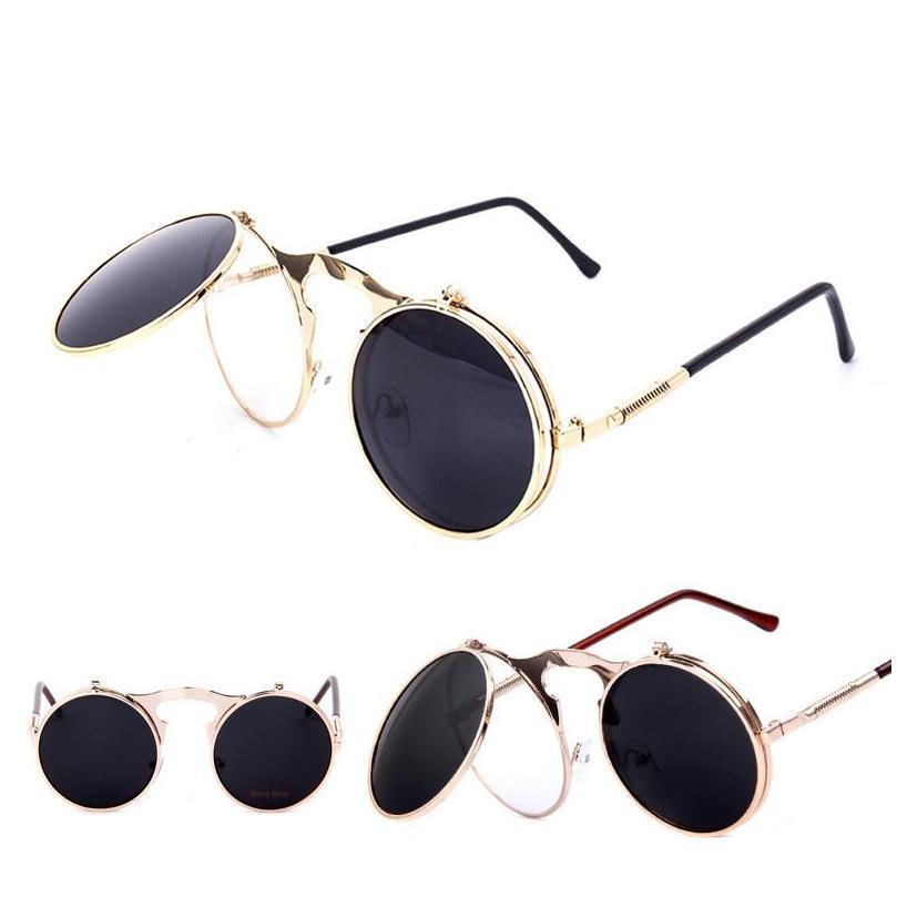 Outdoor Eyewear Schutzausrüstung Radfahren Sport Im Freien Tropfen Lieferung 2021 Luxus Vintage Runde Designer Dampf Punk Metall Frauen Beschichtung Sonne