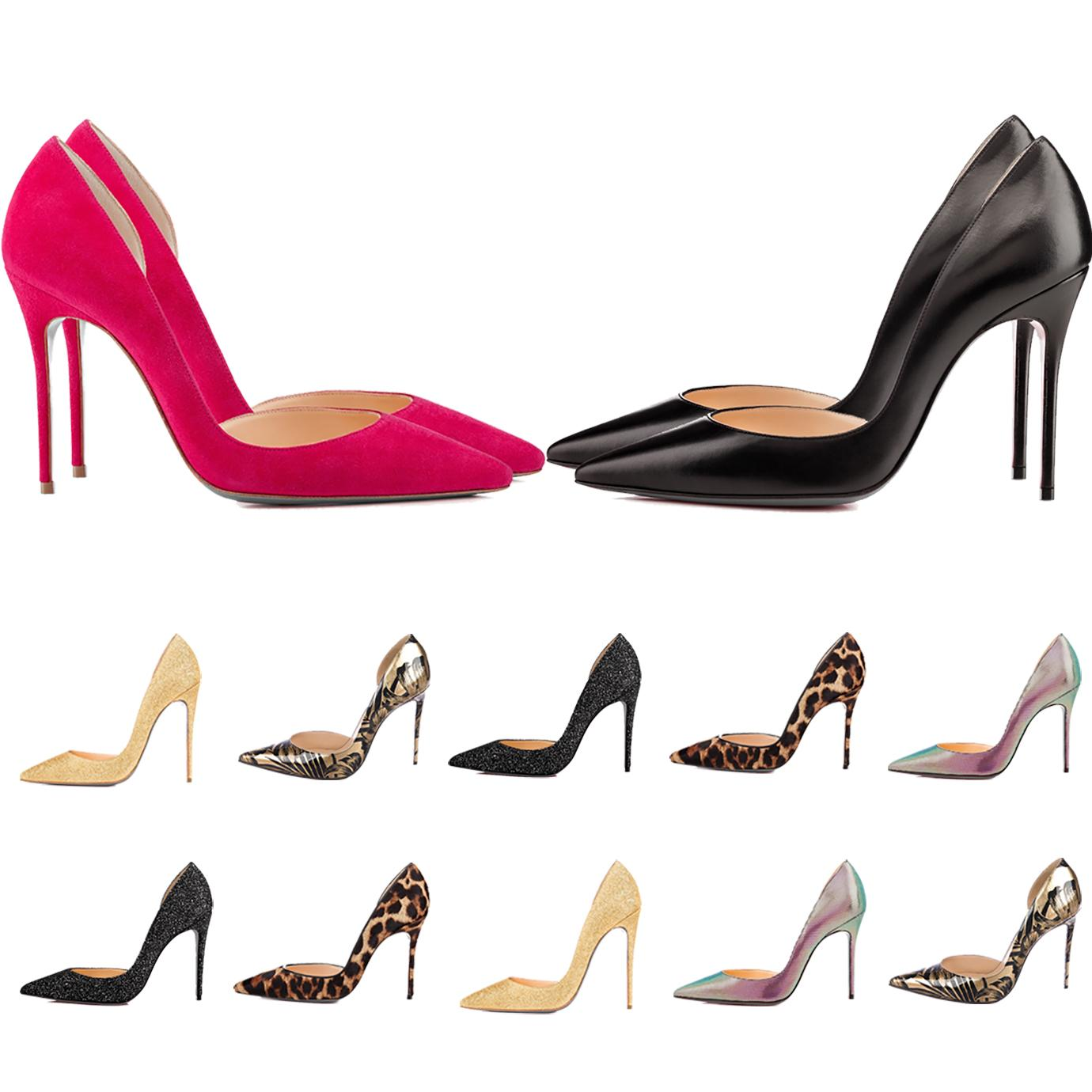 Mulheres Red Bottom High Saltos Luxurys Designers Sapatos Pontes Patentes Patente Brilhante Bombas de Couro Senhora Senhora Sandálias 8.5cm 10cm 12cm calcanhar