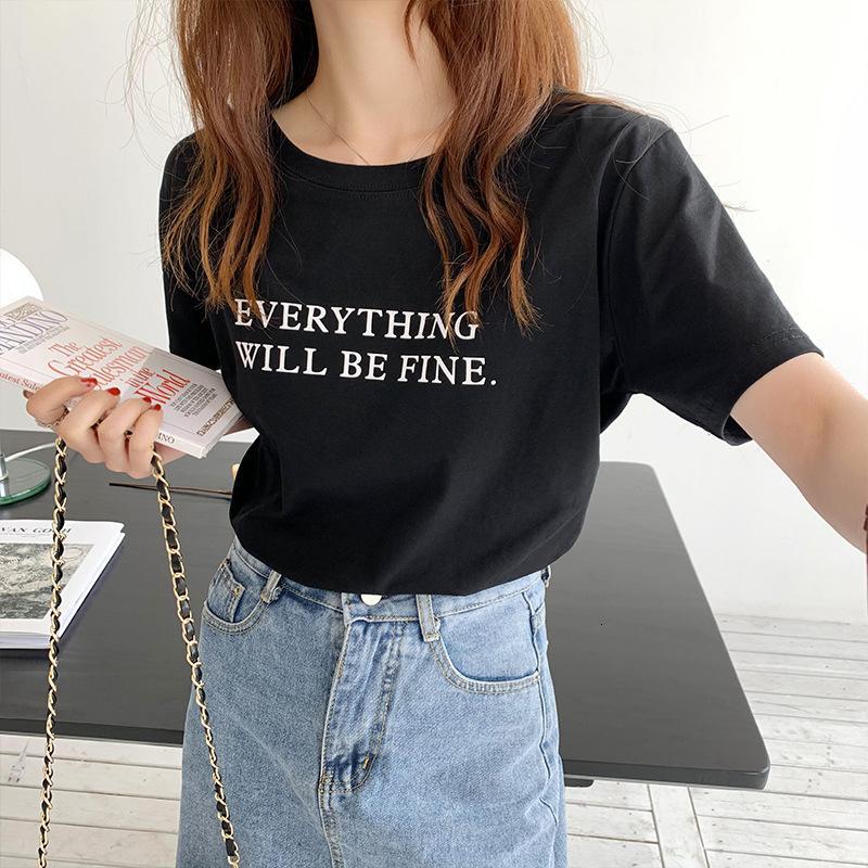 Случайная буква футболка женское лето 2021 новых корейских женщин свободно и тонкий чистый красный короткий рукав