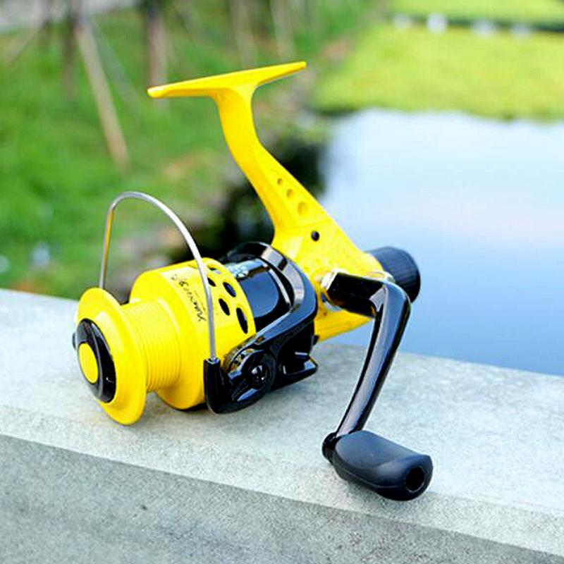 Baicast Spinning Jaune Spinning Bobine de pêche 12BB Roue de frein arrière Colapsible Bras interchangeable gauche / droit pour Pesca 2000-7000