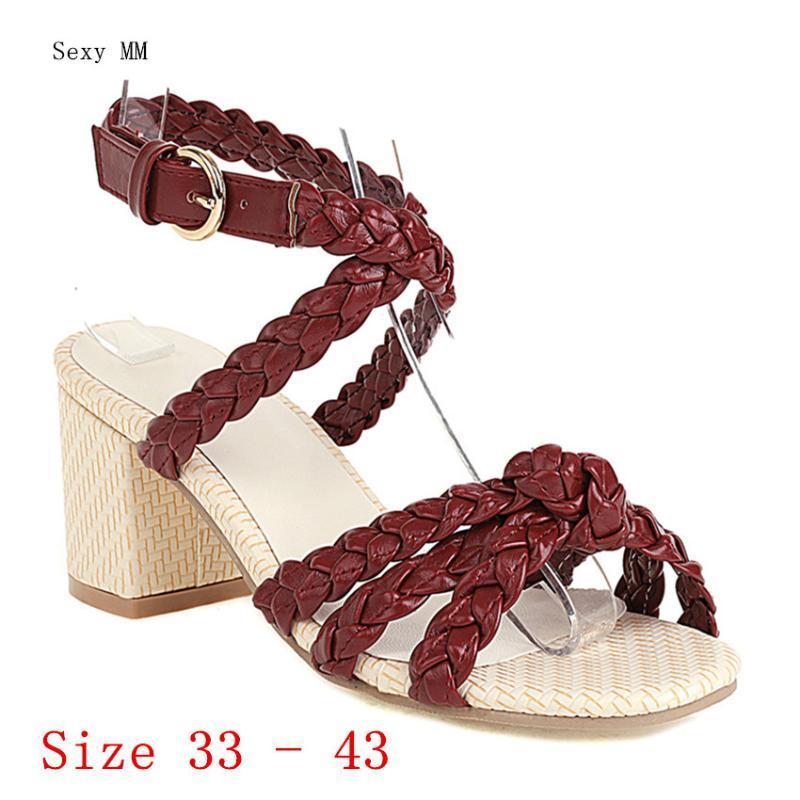 Frauen High Heel Sandalen Knöchelband Schuhe Frau Heels Gladiator Pumps Kleine Plus Größe 33 - 40 41 42 43