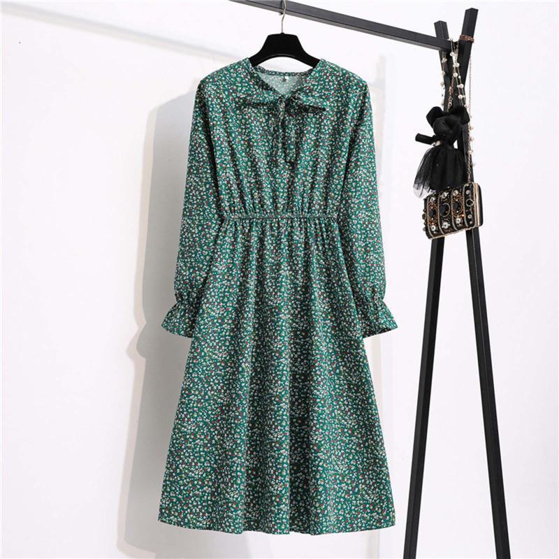 Günlük Elbiseler Uzun Kollu Vintage MIDI 2021 Sonbahar Kış Kadın Şifon Gömlek Elbise Çiçek Polka Dot Kelebek Vestido Lady