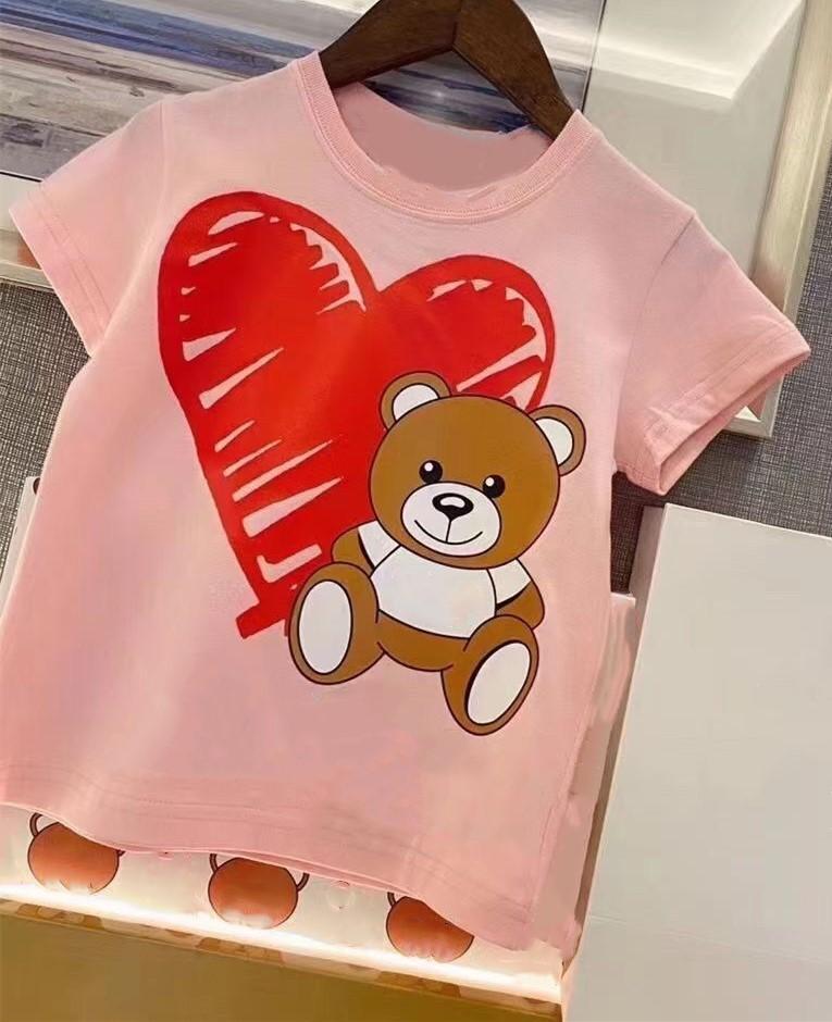 2021 Yaz Çocuk Giyim Erkek Kız T Gömlek Pamuk Kısa Kollu T-Shirt Çocuklar Boy Rahat Sevimli Çocuk T-shirt