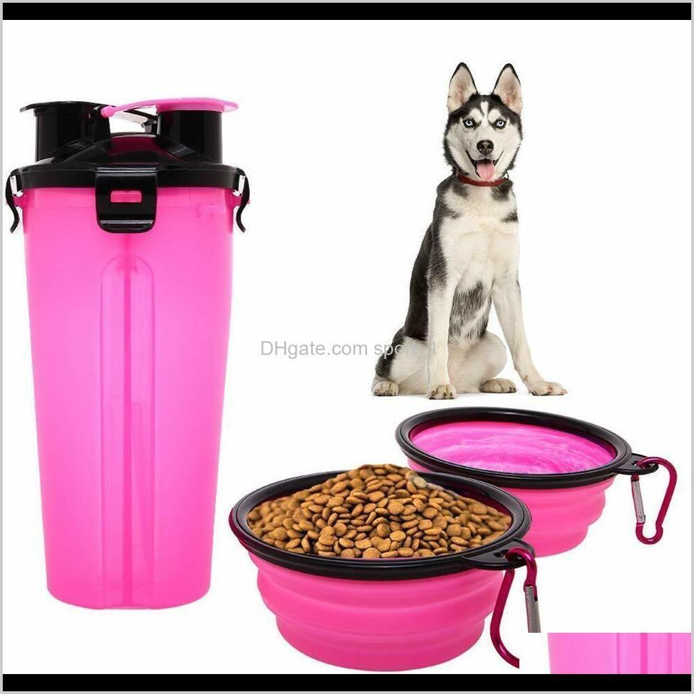 Cuencos Alimentadores Portátil Pet Dog Cat Botella de agua Taza de Alimentos Viajes de bebida Alimentador Alimentante Cuenco Lqdte Gerpi