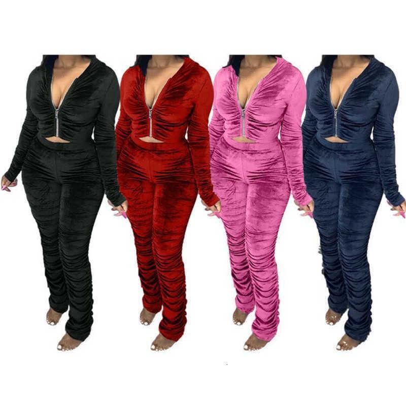 Kadın İki Parçalı Pantolon Kadın Tasarımcılar Giyim Rahat Düz Renk Uzun Kollu Dantelli Kapşonlu Hırka Setleri Güz FA 28DM