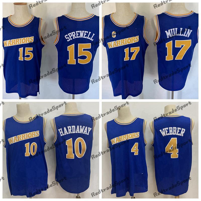 خمر 1993-94 كرة السلة الفانيلة 10 تيم Hardaway 4 كريس ويب 17 مولين 15 Latrol Sprewell مخيط قمصان