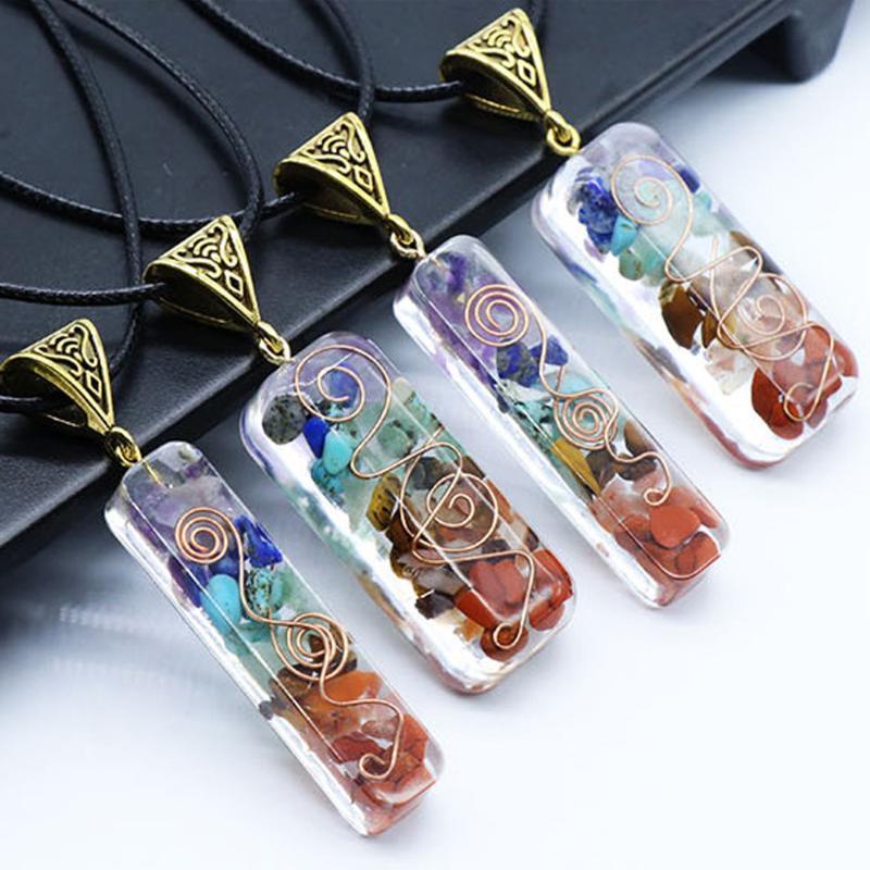Ретро 7 чакра подвесной оргон Reiki Electeling красочный чип натуральный камень Энергетика ожерелье маятника амулет оргонит кристалл ожерелья
